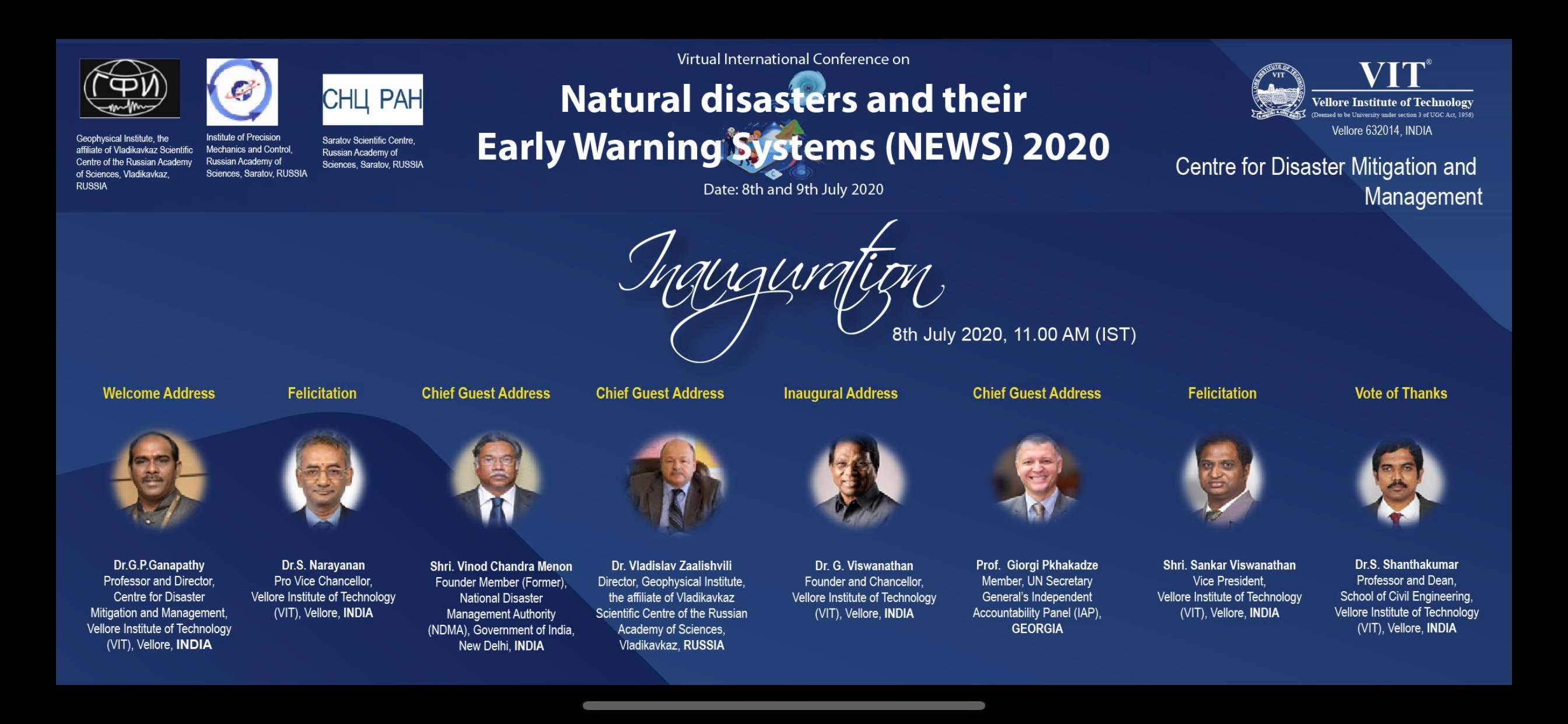 "Conference on ""Natural Disasters and their Early Warning Systems 2020"""